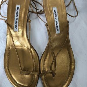 Manolo Blahnik gold strappy sandals